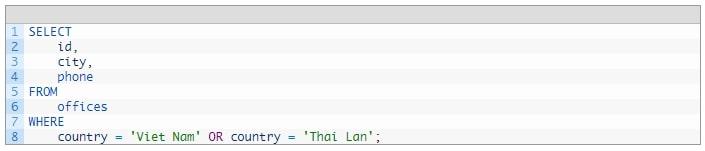 một số toán tử thường dùng trong mysql